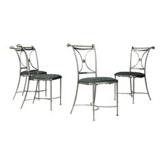 Set of Four Midcentury Chair by Banci Firenze Steel and Brass, 1970s