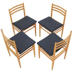 Set of Four Midcentury Dining Chairs, Scandinavian Design, 1970s