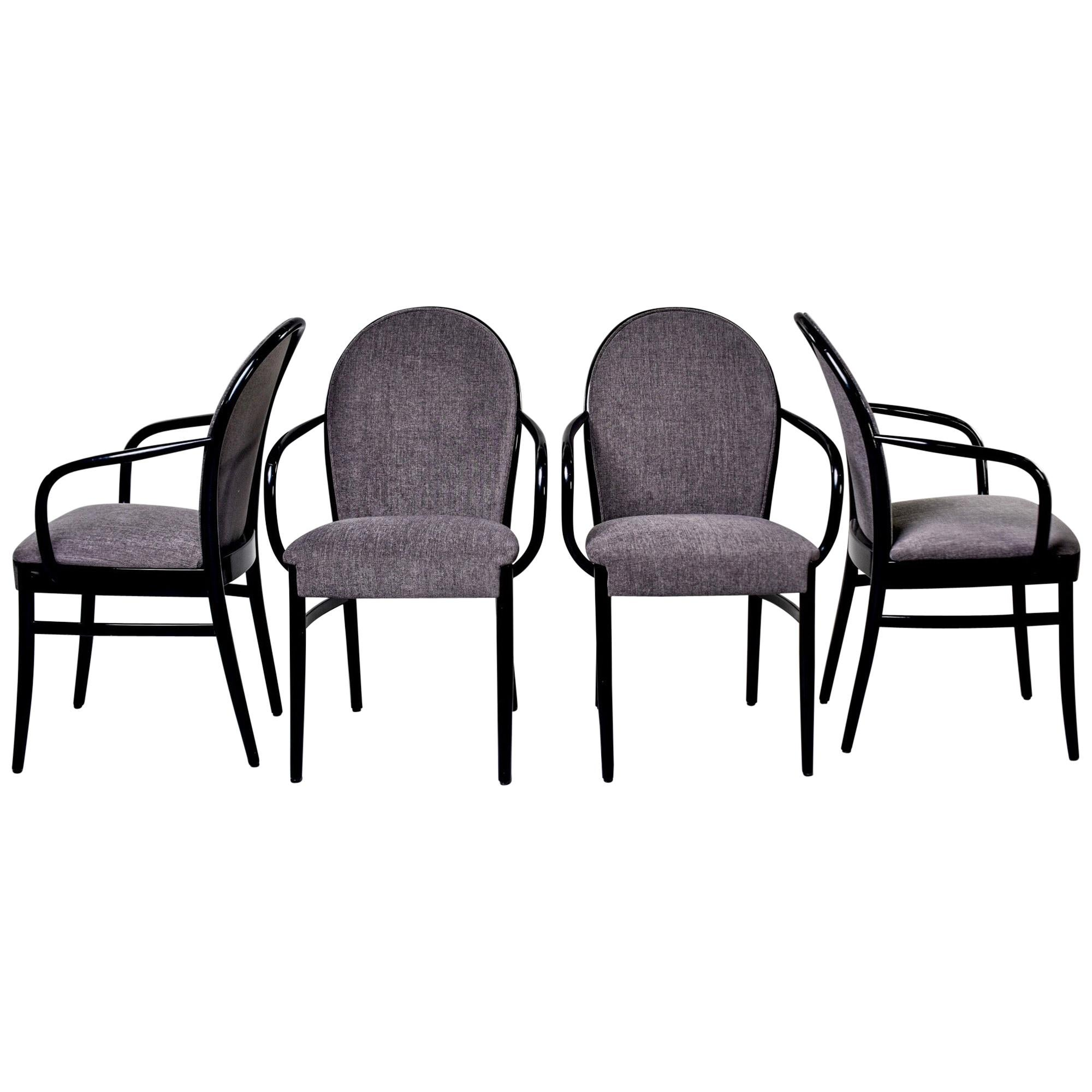 Set of Four Midcentury Ebonized Bentwood Chairs