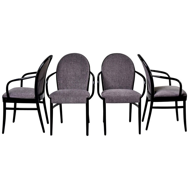 Set of Four Midcentury Ebonized Bentwood Chairs For Sale