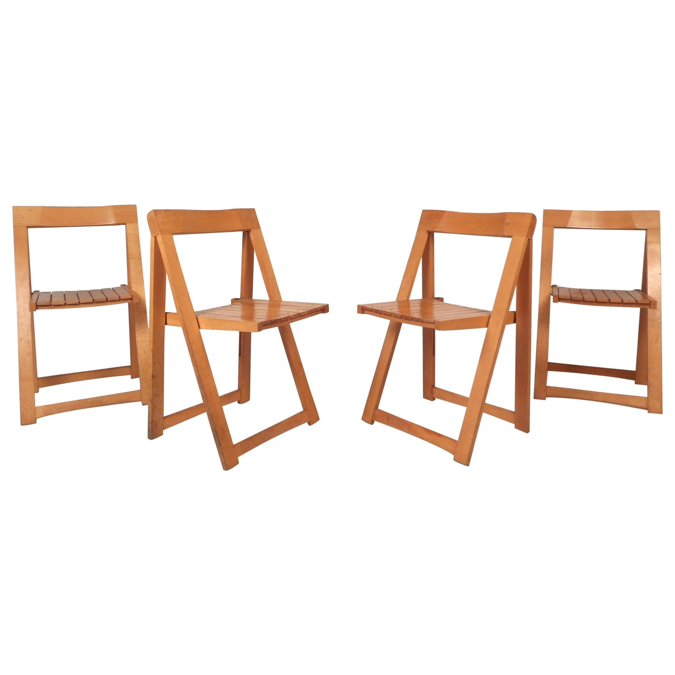 Set of Four Midcentury Folding Chairs