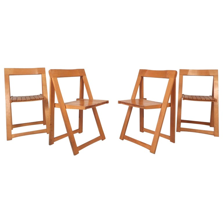 Set of Four Midcentury Folding Chairs For Sale