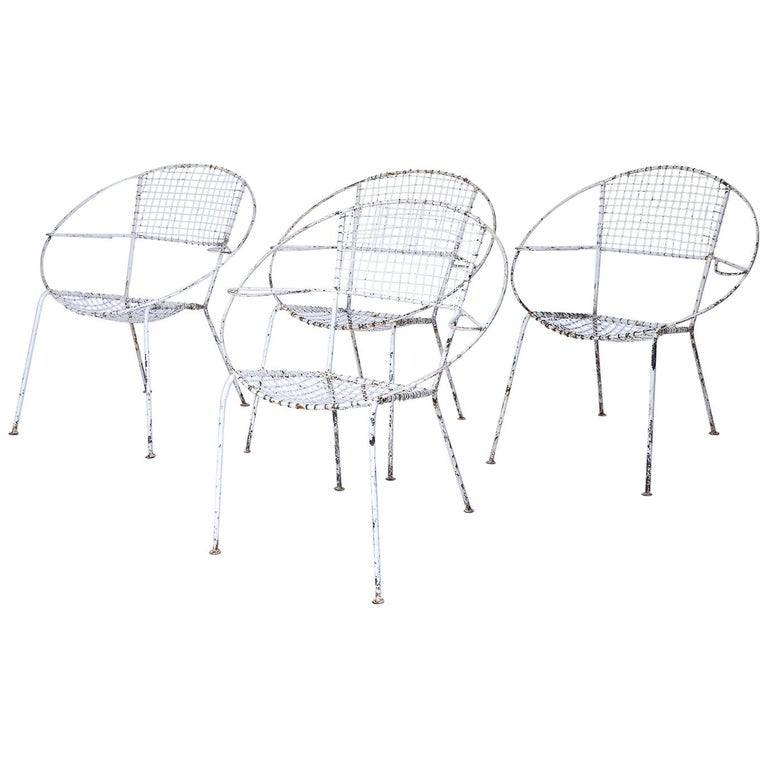 Set of Four Midcentury French Garden Chairs For Sale