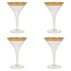 Set of Four Midcentury Gold Rimmed Champagne/ Martini Glasses by Dorothy Thorpe