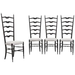 Set of Four Midcentury High Back Chiavari Chairs