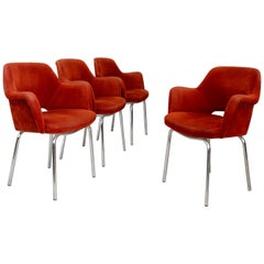 Set of Four Midcentury Italian Chair in Steel and Fabric Orange, 1960s