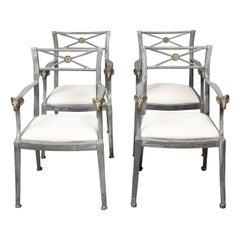 Set of Four Midcentury Italian Metal Armchairs with Brass Rams' Heads
