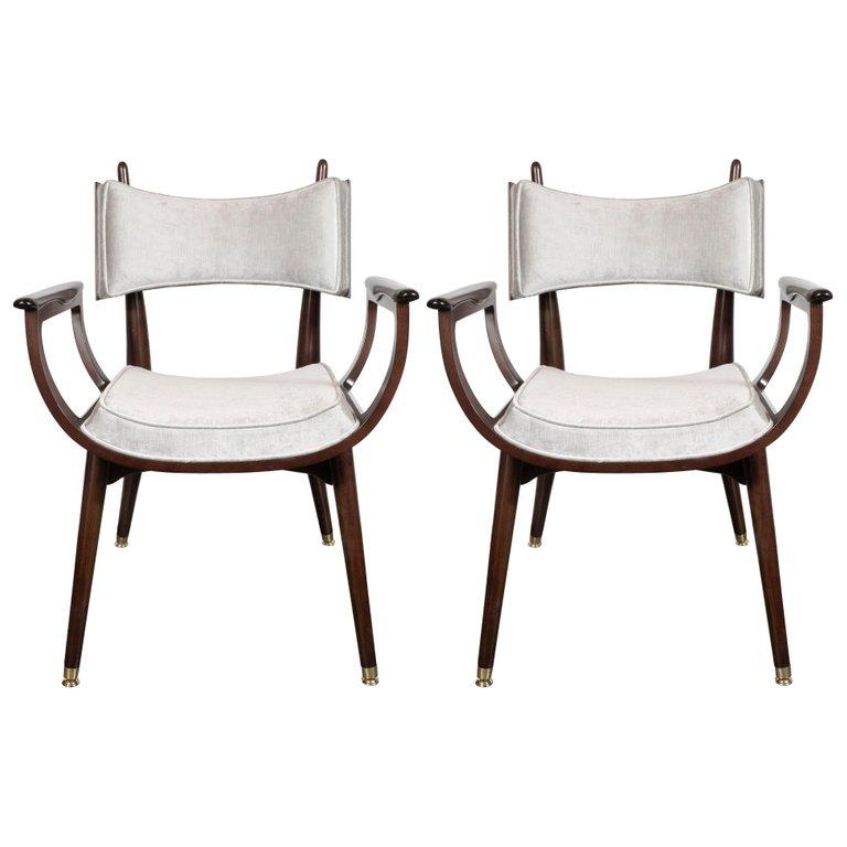 Mid-Century Modern Set of Four Midcentury Klismos Game Chairs by Harold Schwartz for Romweber For Sale