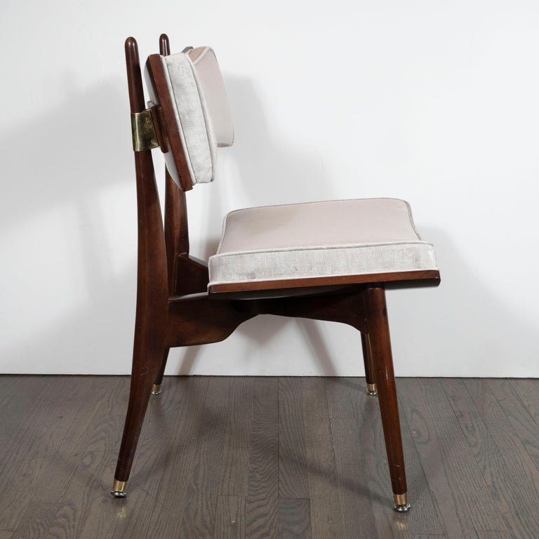 Brass Set of Four Midcentury Klismos Game Chairs by Harold Schwartz for Romweber For Sale