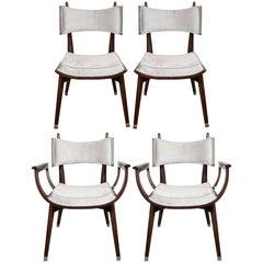 Set of Four Midcentury Klismos Game Chairs by Harold Schwartz for Romweber