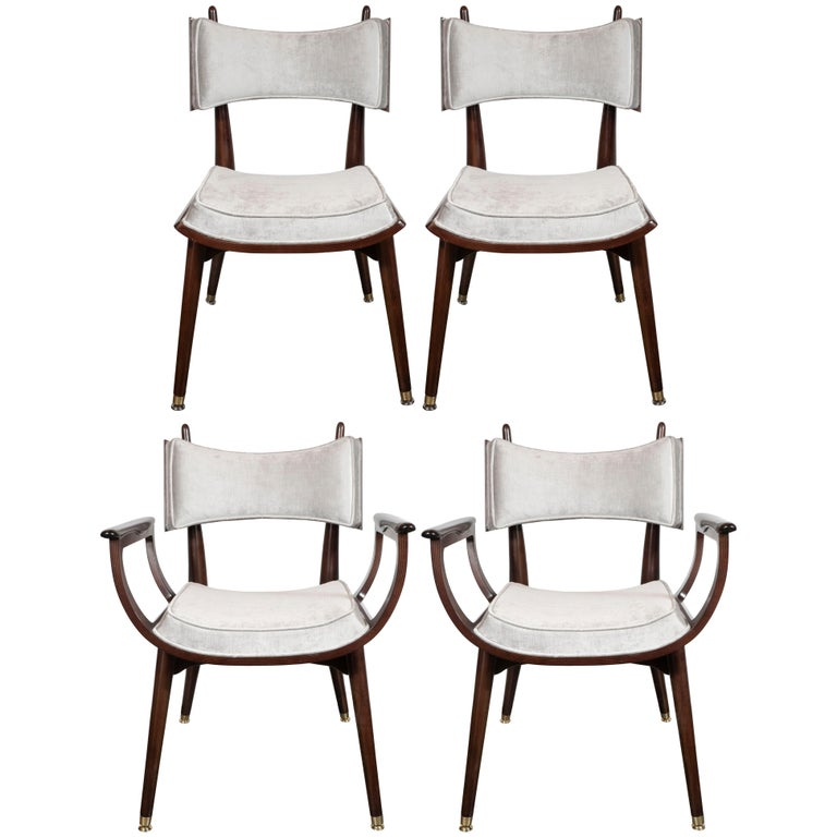 Set of Four Midcentury Klismos Game Chairs by Harold Schwartz for Romweber For Sale