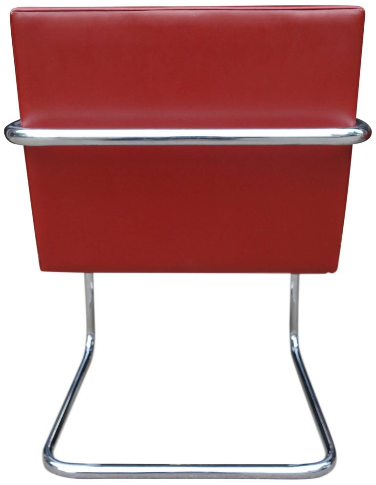 Leather Set of Four Midcentury Knoll Brno Chairs by Mies van der Rohe For Sale