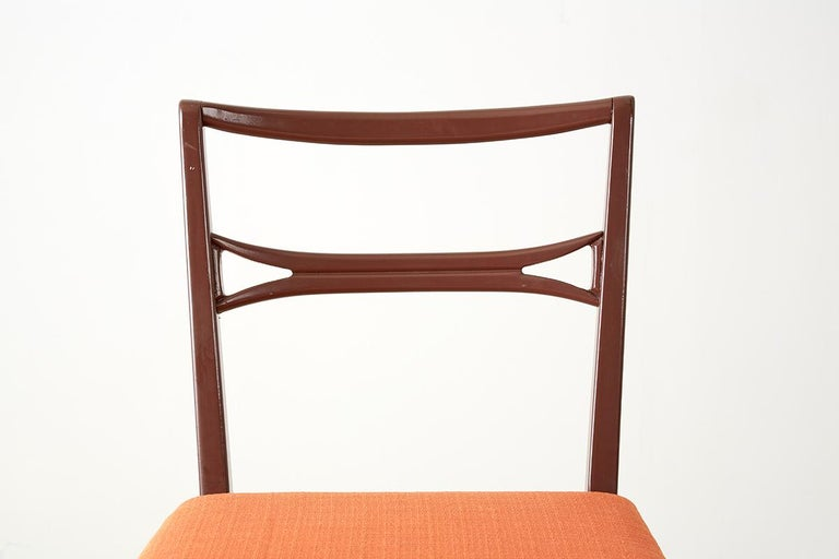 Set of Four Midcentury Lacquered Dining Chairs For Sale 3