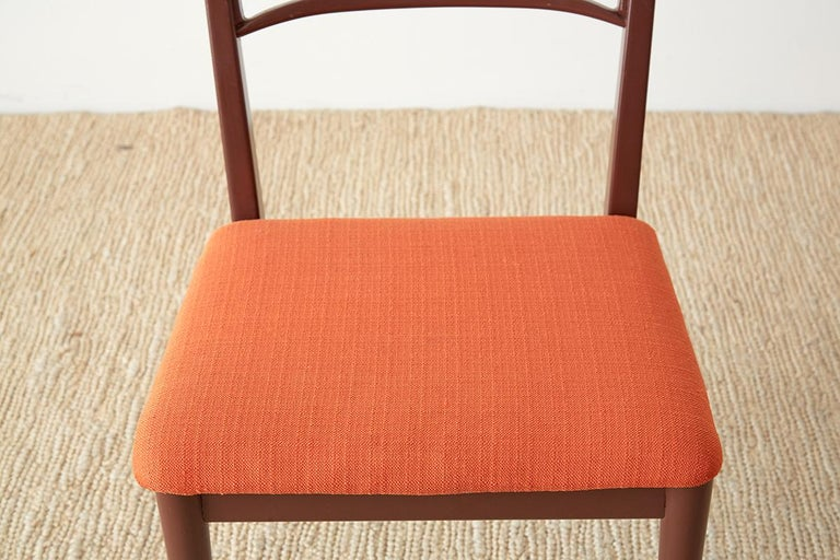 Set of Four Midcentury Lacquered Dining Chairs For Sale 5