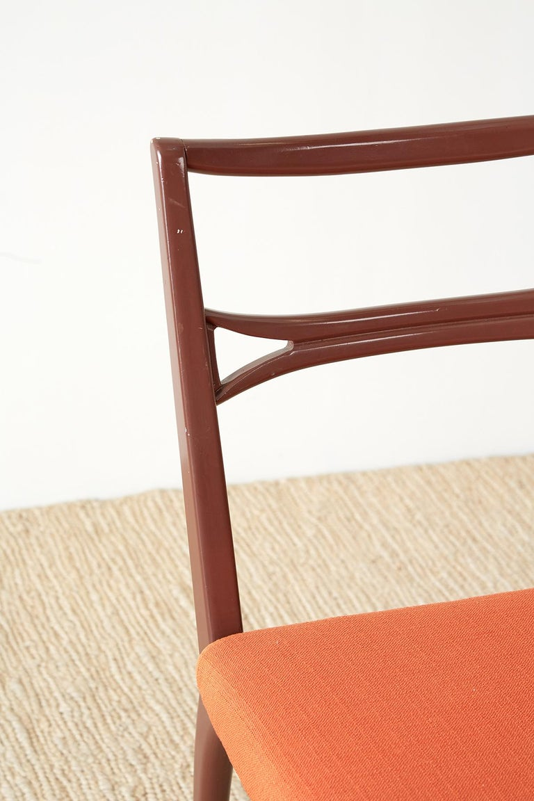 Set of Four Midcentury Lacquered Dining Chairs For Sale 6