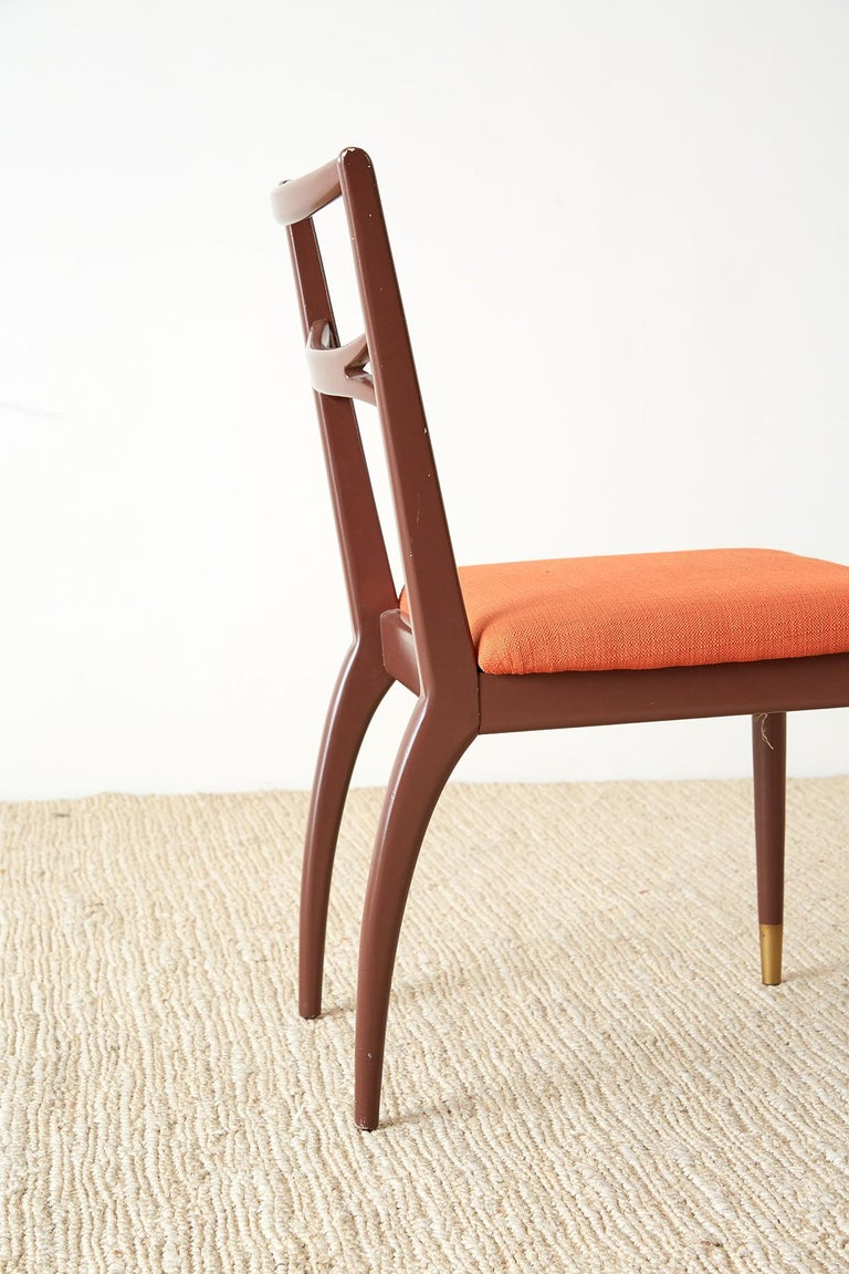 Set of Four Midcentury Lacquered Dining Chairs For Sale 7