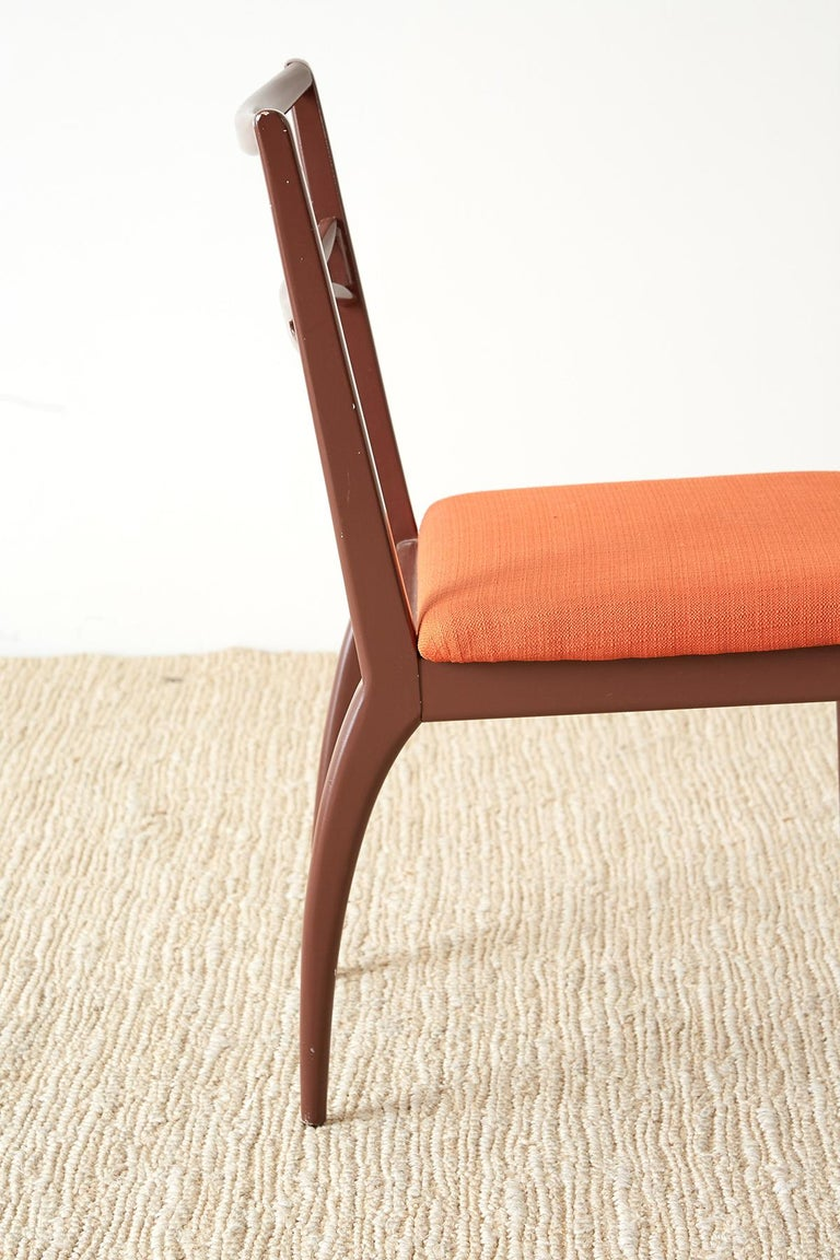 Set of Four Midcentury Lacquered Dining Chairs For Sale 9