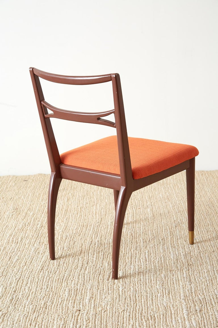 Set of Four Midcentury Lacquered Dining Chairs For Sale 10