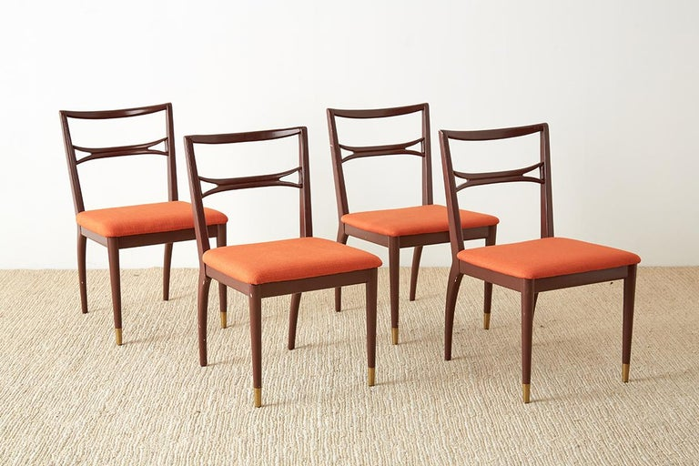 Mid-Century Modern Set of Four Midcentury Lacquered Dining Chairs For Sale