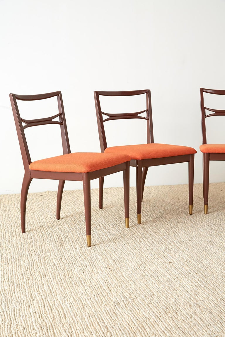American Set of Four Midcentury Lacquered Dining Chairs For Sale