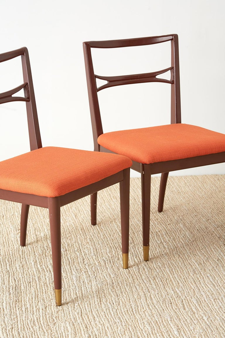 Set of Four Midcentury Lacquered Dining Chairs In Good Condition For Sale In Oakland, CA