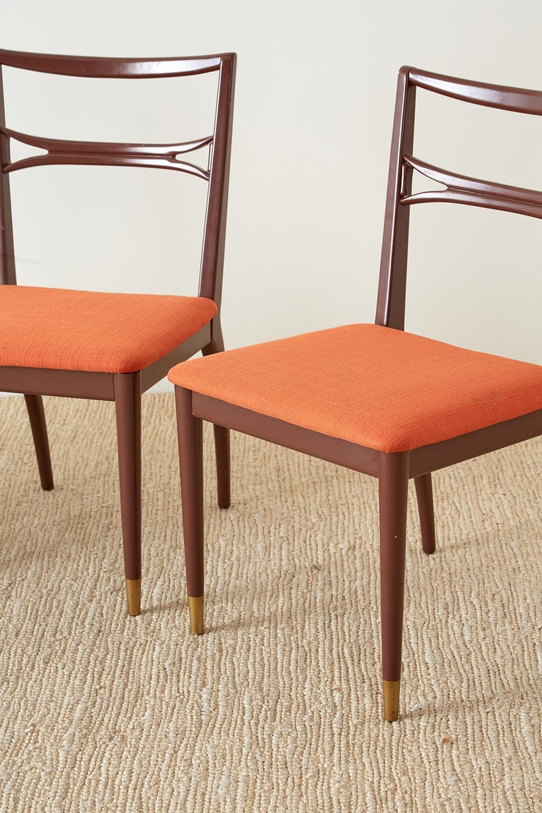 20th Century Set of Four Midcentury Lacquered Dining Chairs For Sale