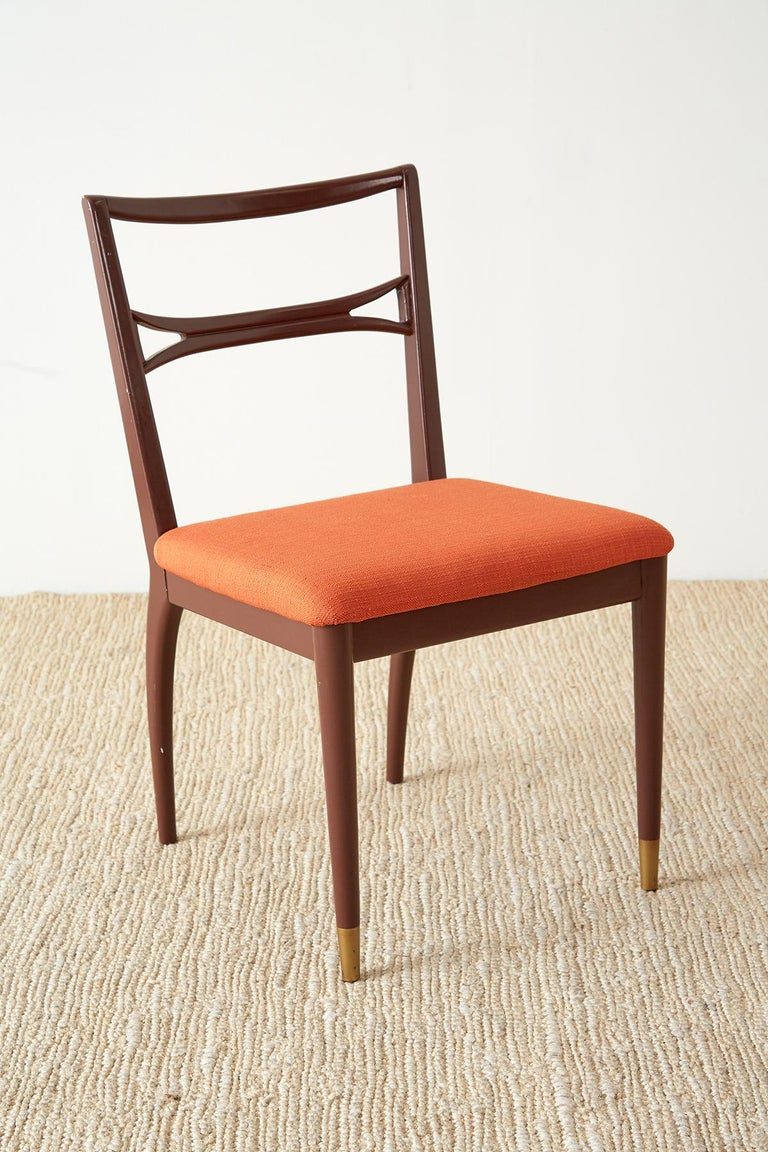 Fabric Set of Four Midcentury Lacquered Dining Chairs For Sale