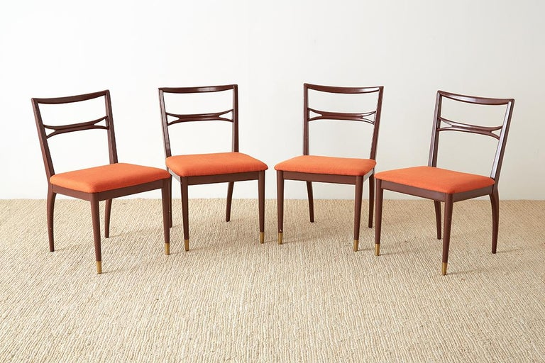 Set of Four Midcentury Lacquered Dining Chairs For Sale 1