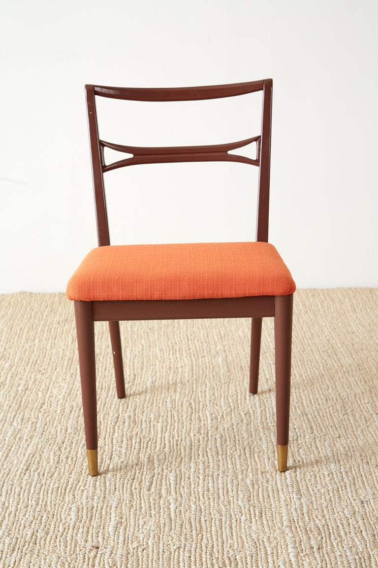 Set of Four Midcentury Lacquered Dining Chairs For Sale 2