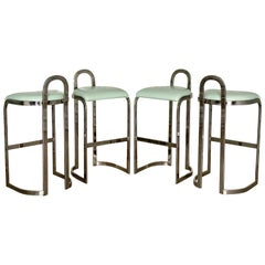 Set of Four Mid-Century Modern Milo Baughman Thayer Coggin Bar Stools in Chrome
