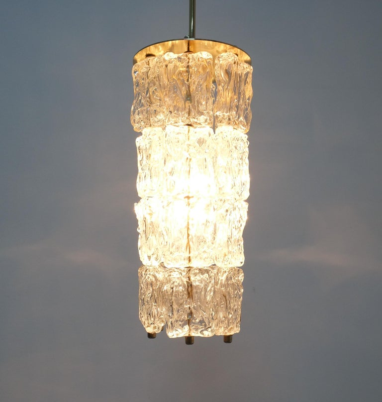 Set of Four Midcentury Murano Glass Pendant Lamps by Barovier Toso, Italy For Sale 3