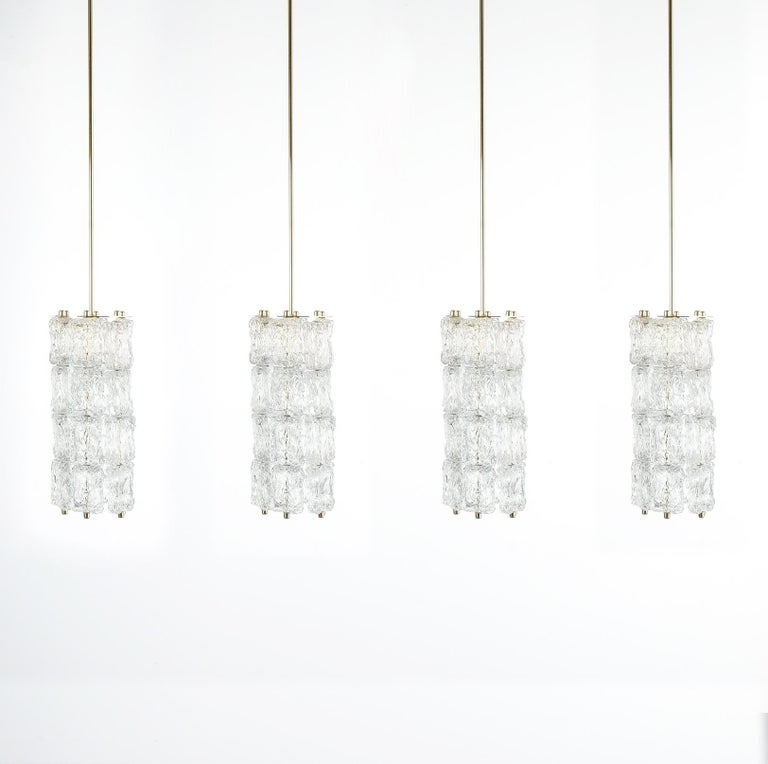 Set of Four Midcentury Murano Glass Pendant Lamps by Barovier Toso, Italy For Sale 12