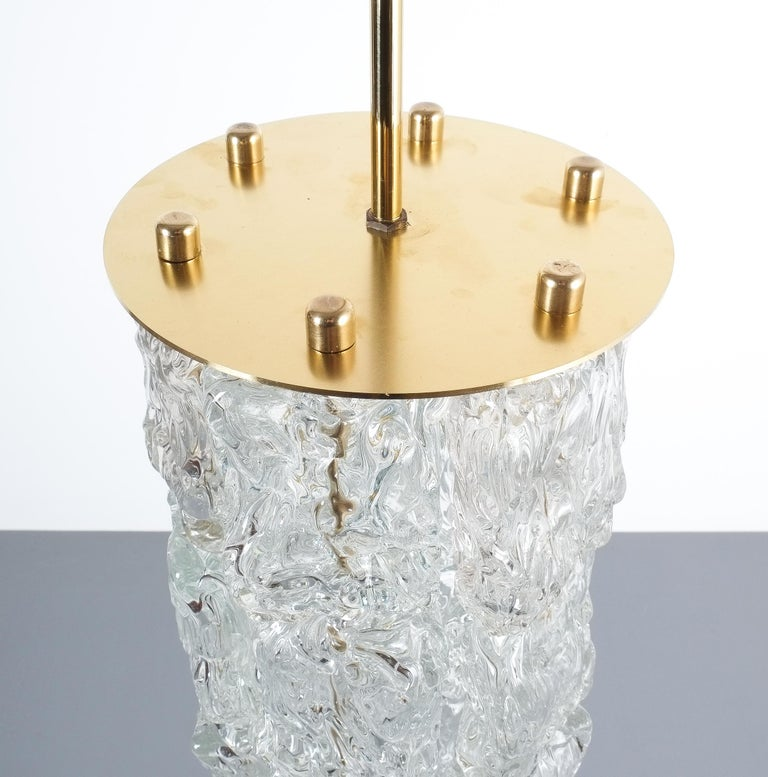 Brass Set of Four Midcentury Murano Glass Pendant Lamps by Barovier Toso, Italy For Sale