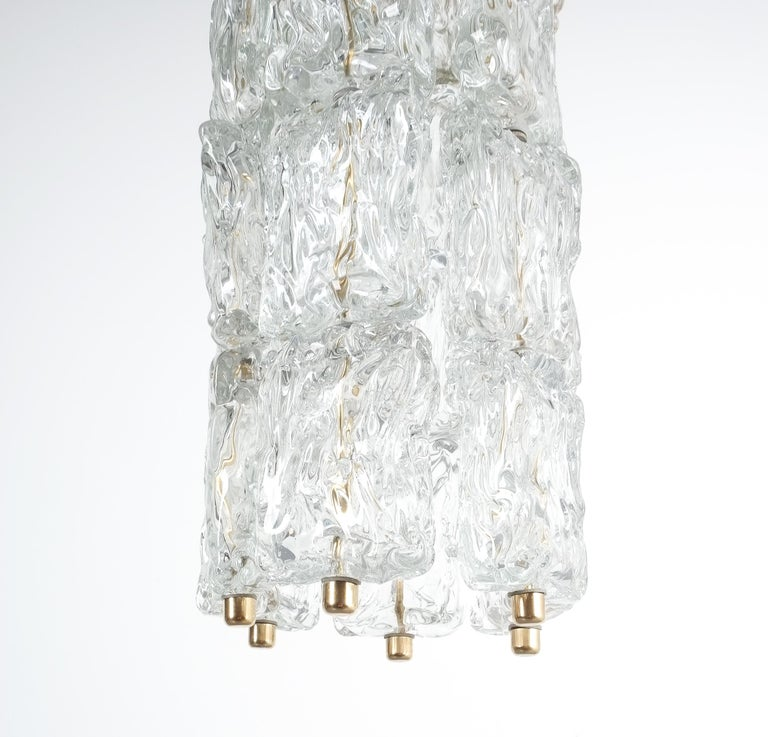 Set of Four Midcentury Murano Glass Pendant Lamps by Barovier Toso, Italy For Sale 1