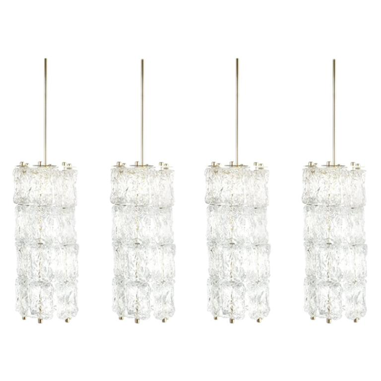 Set of Four Midcentury Murano Glass Pendant Lamps by Barovier Toso, Italy For Sale