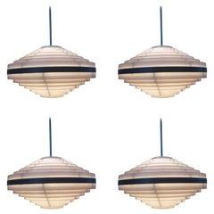 Set of Four Midcentury Pendants, Ring, UFO, 1970s