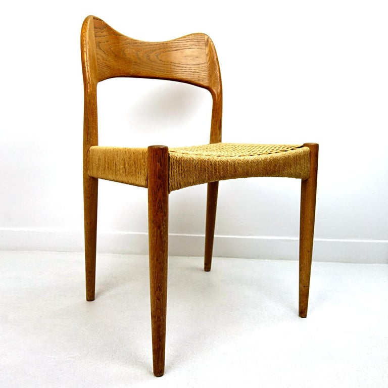 Mid-20th Century Set of four Midcentury Scandinavian Dining Chairs 71 by Niels O. Moller For Sale