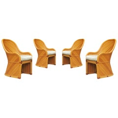 Set of Four Midcentury Sculptural Split Reed Rattan Dining Chairs by Henry Link