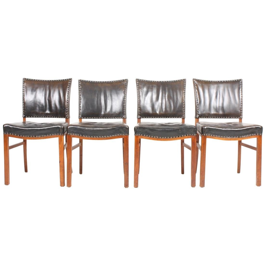 Set of Four Midcentury Side Chairs in Patinated Leather by Fritz Hansen, Danish