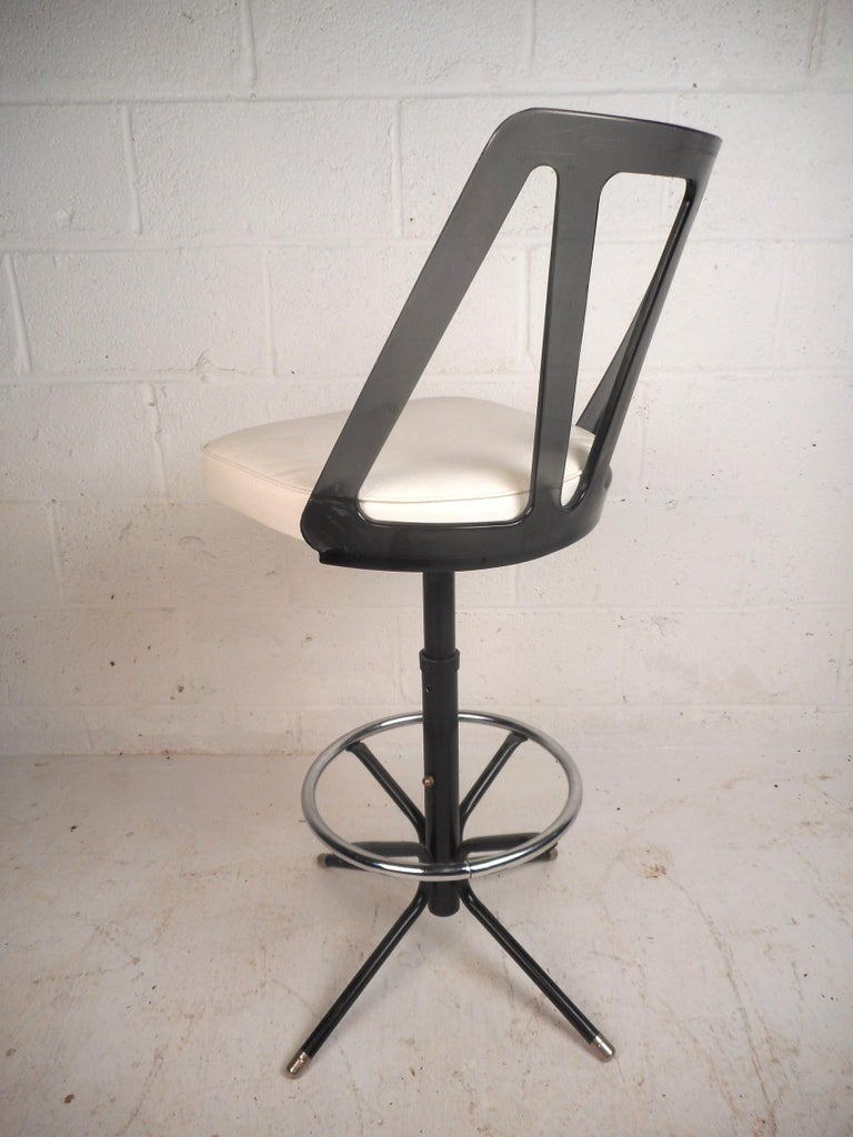 Mid-20th Century Set of Four Midcentury Smoked Lucite Swivel Bar Stools For Sale