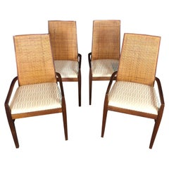 Set of Four Midcentury Tall Cane Back Dining Armchairs