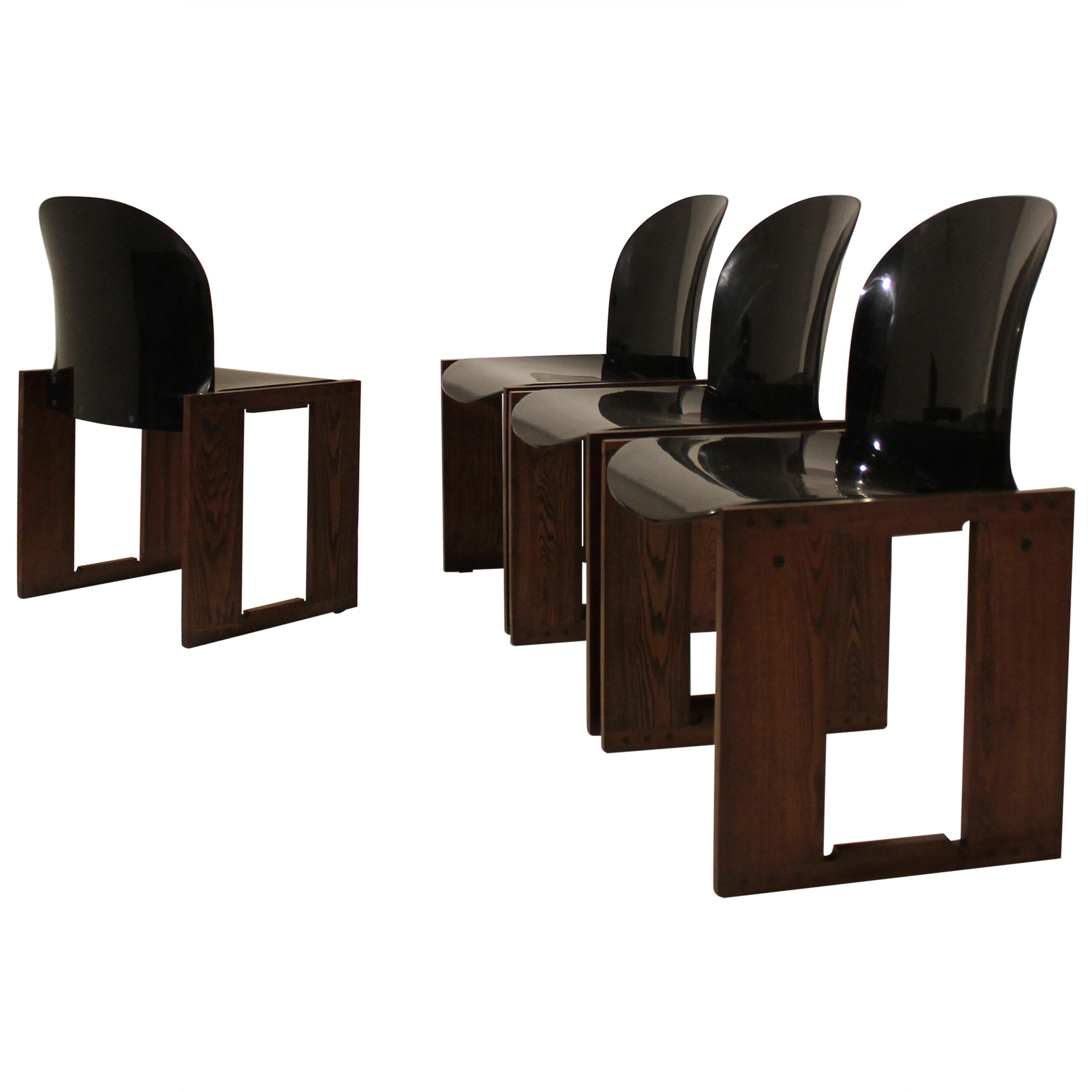 "Set of Four Midcentury Tobia Scarpa ""Dialogo"" Chair for B&B Italia, 1970s"