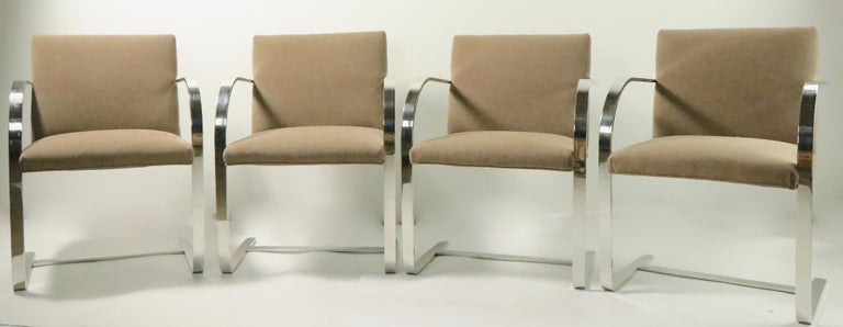 Steel Set of Four Mies Van Der Rohe Brno Chairs for Brueton For Sale