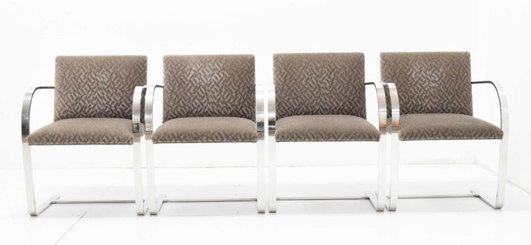 Beautiful set of Mies van der Rohe Brno chairs in a mohair. Stainless steel frames. Beautiful condition.
