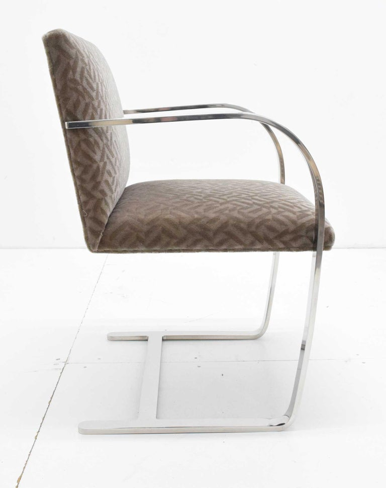American Set of Four Mies van der Rohe Brno Chairs in Mohair For Sale