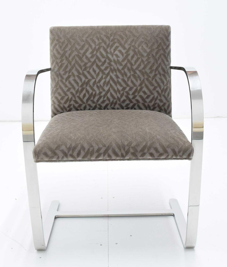 Set of Four Mies van der Rohe Brno Chairs in Mohair For Sale 1