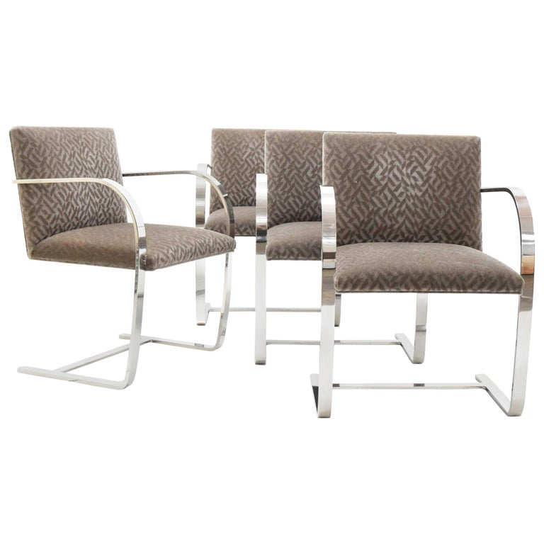 Set of Four Mies van der Rohe Brno Chairs in Mohair For Sale