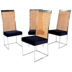 Set of Four Milo Baughman Chrome and Cane Dining Chairs