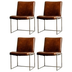 Set of Four Milo Baughman for Thayer Coggin Thinline Chrome Dining Chairs, 1970s
