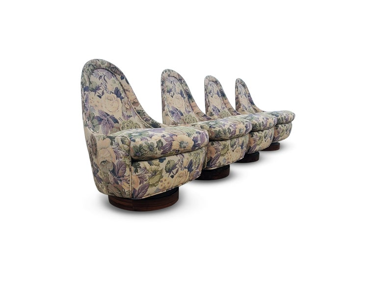Set of Four Milo Baughman Petite Swivel and Tilt Lounge Chairs For Sale 2